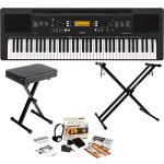 Yamaha PSREW300 76-Key Portable Digital Keyboard, a Double Braced X-Style Keyboard Stand, X-Syle Piano Bench, Power Supply, Foot switch, Stereo Headphones, and 2-Year Extended Warranty