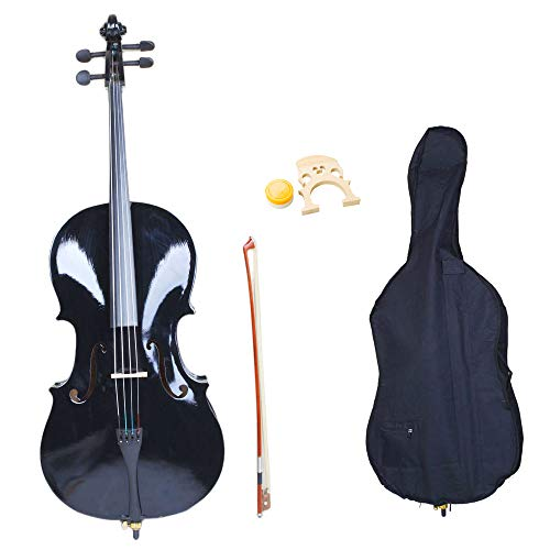 Acoustic Cello Wood Color Beautiful Varnish Finishing,with Soft Case, Bow, Rosin and Bridge,Size 4/4 (Black)