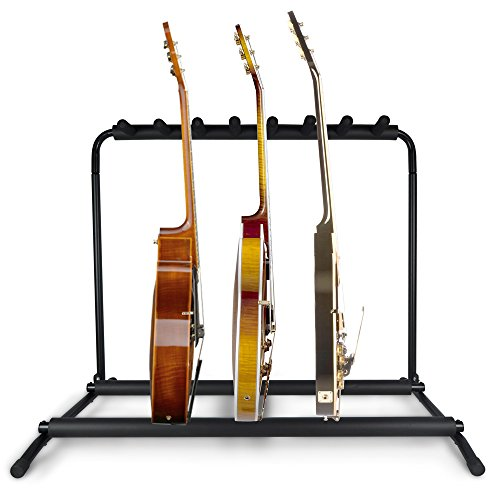 Pyle Multi Guitar Stand 7 Holder Foldable Universal Display Rack - Portable Black Guitar Holder With No slip Rubber Padding for Classical Acoustic, Electric, Bass Guitar and Guitar Bag/Case - PGST43