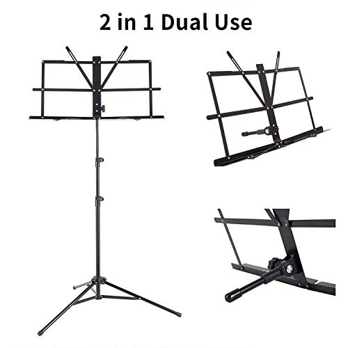 EastRock Folding Dual Use Music Stand for Sheet Music,Professional Portable Light Weight and Adjustable Music Stand-Book Stand, Portable Carry Bag