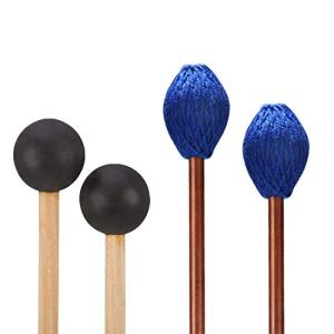 Yarn Head Marimba Mallets and 1 Pair Rubber Mallets Sticks