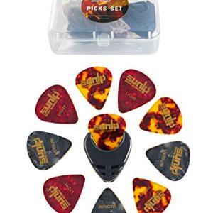 Premium Guitar Picks 24pcs Thin Medium Heavy Gauge Variety Pack with Picks Holder Plastic Picks Box SUNLP Celluloid Guitar Picks for Acoustic Classical Electric Guitar Bass 0.46mm & 0.71mm & 0.96mm