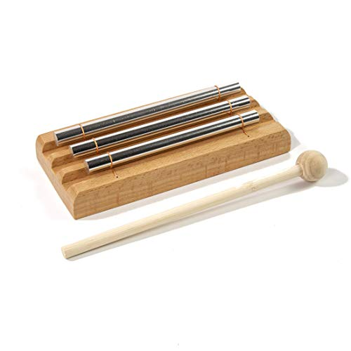 Zenergy Chime Solo, CUSTEAM Eastern Musically Tuned Energy Chime Percussion Instrument with Mallet for Meditation, Teachers' Classroom Management, Yoga and Sound Therapy (THREE TONE)