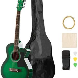 ARTALL 39 Inch Handmade Solid Wood Acoustic Cutaway Guitar Beginner Kit with Gig Bag, Strings, Picks, Strap, Glossy Green