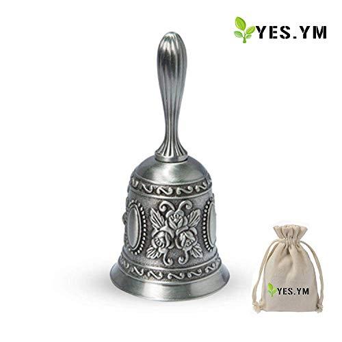 YES.YM Hand Call Bell Multi-Purpose Hand Bell for Wedding Decoration,Alarm,School Church Classroom,Bar (Silver)