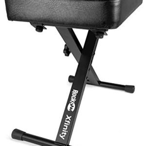 RockJam KB100 Adjustable Padded Keyboard Bench, X-Style, Black