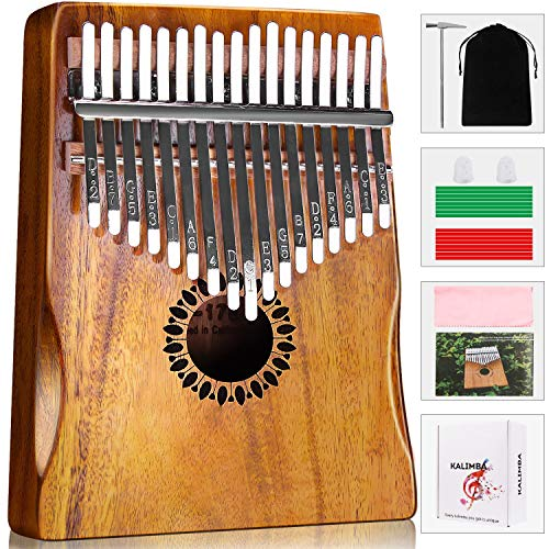 Kalimba Thumb Piano 17 Keys, Portable Mbira Finger Piano Gifts