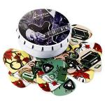 Donner 16 Pack Nostalgia Celluloid Guitar Picks + Tin Box + Leather Key Chain Pick Holder 4 Gauges Thin Medium Heavy & Extra Heavy Cool Music Gift for Guitar Player