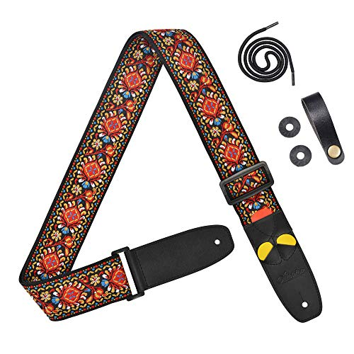Amumu Adjustable Guitar Strap Vintage Embroidery Red Flower for Acoustic Guitar Electric Guitar and Bass Guitar with pick-holders leather ends includes 3 Picks & Strap Blocks & Headstock Strap