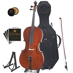 Cecilio CCO-500 Ebony Fitted Flamed Solid Wood Cello with Hard & Soft Case, Stand, Bow, Rosin, Bridge and Extra Set of Strings, Size 3/4