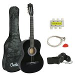 "ZENY 38"" New Beginners Acoustic Guitar With Guitar Case, Strap, Tuner and Pick (Black)"