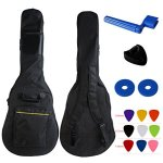 "YMC 41 Inch Waterproof Dual Adjustable Shoulder Strap Acoustic Guitar Gig Bag 5mm Padding Backpack with Accessories(Picks, Pick holder, Strap Lock, String Winder) -For 40"" & 41-Inch Acoustic Guitar"
