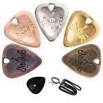 5 Pcs Guitar Picks & Guitar Picks Holder & Pick Necklace, Stainless Steel Zinc Alloy Electric Guitar Pick Medium Gauge for Bass Electric Acoustic Guitars