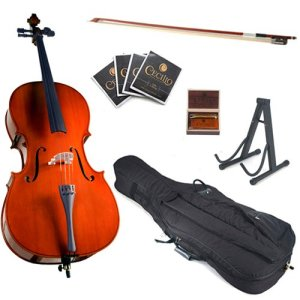 Cecilio CCO-100 Student Cello with Soft Case, Stand, Bow, Rosin, Bridge and Extra Set of Strings, Size 1/4