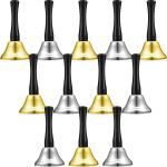 12 Pieces Metal Hand Bells Call Bell Service Hand Bells Black Wooden Handle Handbells Metal Handbells Musical Percussion for Schools (Silver and Gold)