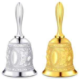 2 Pieces Hand Bell Call Vintage Hand Held Bell Service Call Bell Multi-Purpose Metal Bell for Dinner, Tea Time, Wedding Party