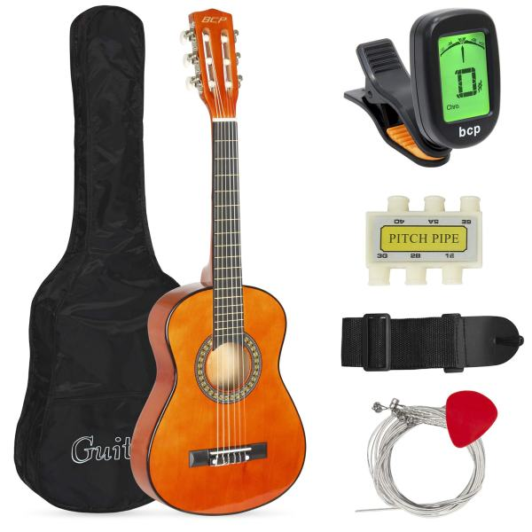 Best Choice Products 30in Kids Classical Acoustic Guitar Beginners Set w/Carry Bag, Picks, E-Tuner, Strap - Brown