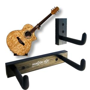 Angled Guitar Wall Hanger Display for Acoustic and Thick Body Guitars - Black Finish