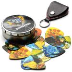 Van Gogh 12 Pack Guitar Picks with 100% Leather Picks Holder – Celluloid Medium Plectrums Unique Gifts For Guitarist