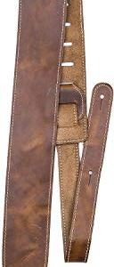 """Perri's Leathers Ltd. Guitar Strap, 2.5"""" Wide Baseball Leather, Adjustable Length, (SP25S-7049) Tan, Made in Canada"""