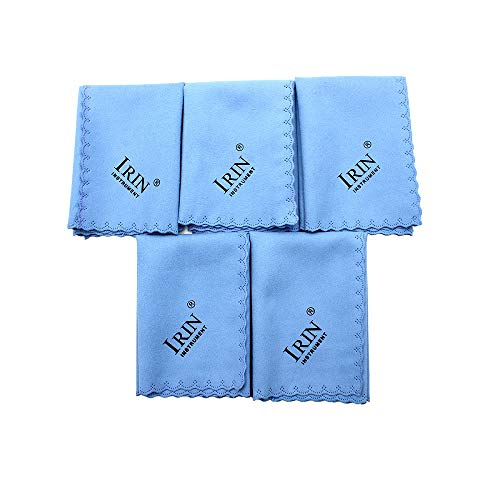 Mowind 5pcs Microfiber Polishing Cleaning Cloth for Musical Instrument Guitar Piano Violin Sax Clarinet Flute Universal