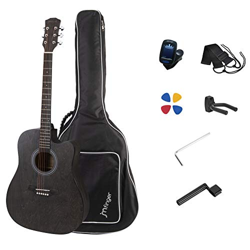 JMFinger Full Size 41 Inch Cutaway Acoustic Guitar for Beginners with Bag, Tuner, Strap, Picks, Guitar Hanger,String Winder, Coffee