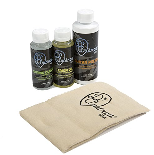 D'Andrea Deluxe Guitar Care Kit with Guitar Polish, Lemon Oil, String Cleaner, Polish Cloth, and Care Guide