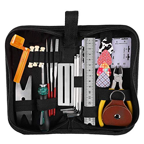 Medeer 26PCS Guitar Repair Tool Kit Wire Plier,String Organizer,Fingerboard Protector,Hex Wrenches,Files,String Ruler Action Ruler,Spanner Wrench,Bridge Pins for Guitar Ukulele Bass Mandolin Banjo