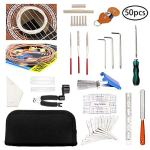 50 Pcs Guitar Tool Repair Setup Kit Maintenance String Winder Accessories Cleaning Care Ruler Action Radius Gauge Measuring Files Luthier Fret Rocker Leveling Tools for Acoustic Ukulele Bass Mandolin