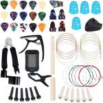Guitar Accessories Kit 61 Pcs - Guitar Picks & Capo & Tuner & Acoustic Guitar Strings & 3 in 1 Guitar String Winder Cutter Pins Puller & String Bone Bridge Saddle & Bridge Pins and Nut & Finger Picks