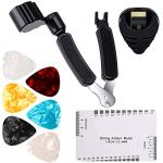 9 Pieces Guitar Accessories Kit Including 3 in 1 String Winder, String Action Ruler, Guitar Picks, Plectrum Holder