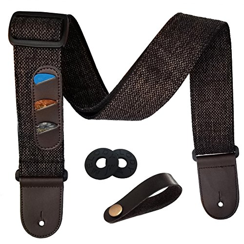 iDelta Guitar Strap Vintage Woven Style Adjustable Acoustic Electric Guitar Bass Strap with Leather Ends, Picks, Strap Bundle, Button