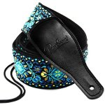 Guitar Strap, Vintage Embroidered Cotton Strap with Genuine Leather Ends for Acoustic and Electric Guitar, Bass Guitars