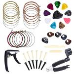 Benvo Guitar Accessories Kit 49 Pieces Guitar Tool Changing Kit Including Guitar Picks, Capo, Acoustic Guitar Strings, String Winder, Bridge Pins, Pin Puller, Guitar Bones & Pick Holder, Finger Picks