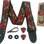 Guitar Strap Cotton Flower Roses W/FREE BONUS- 2 Picks + Strap Locks + Strap Button. For Bass, Electric & Acoustic Guitar Accessories. an Awesome Gift for Men & Women Guitarists