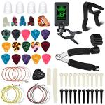 Guitar Accessories Kit, FOVERN1 72 PCS Guitar Tools Set Including Guitar Picks, Capo,Tuner, Guitar Strings, 3 in 1String Winder,Bridge Pins, 6 String Bone Bridge Saddle and Nut,Finger Picks