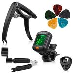9 Pieces Guitar Accessories Kit Including Guitar Tuner,Guitar Capo,3 in 1 String Winder, Guitar Picks, Plectrum Holder (Tuner + Capo)