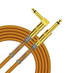 TISINO Guitar Cable, 6ft 1/4 inch TS Right Angle to Straight Guitar Instrument Cord for Electric Guitar, Bass, Amp, Keyboard, Mandolin - Yellow