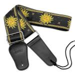 BestSounds Guitar Strap Sun Jacquard Woven Strap With Genuine Leather Ends Guitar Shoulder Strap for Bass, Acoustic,Classical & Electric Guitar (Black)