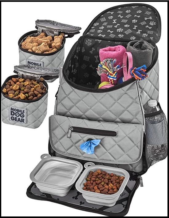 Mobile Dog Gear, Dog Travel Bag, Deluxe Quilted Weekender Backpack