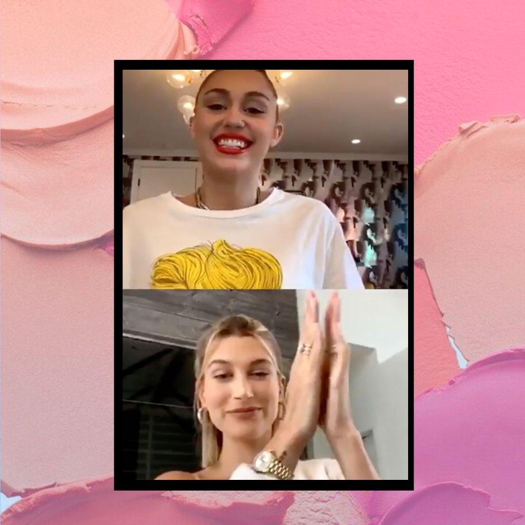 Miley y Hailey Bieber hicieron un tutorial de makeup para tu cuarentena