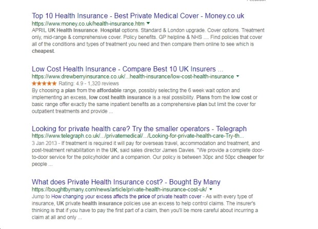 test health plan seo