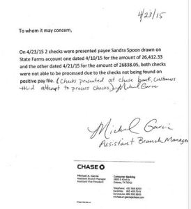 Letter from VP of Chase, stating checks had been presented three times, yet were no good.
