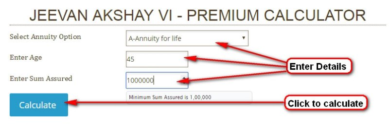 Jeevan Akshay VI premium and benefit calculator.