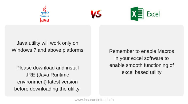 Income tax returns efiling Java vs Excel utility