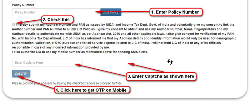 Link Aadhar and PAN to LIC policies