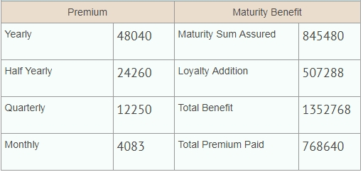 LIC Jeevan Saral plan 165 example of benefits