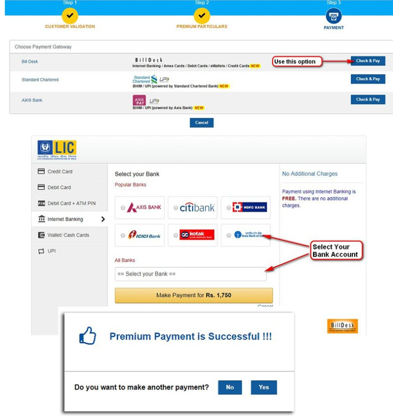LIC online premium payment with out registration steps involved