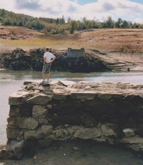 My 12 year old son standing on the Gwynn's or Rattlesnake Bar bridge abutment in 2009.