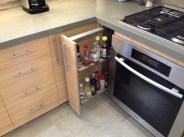 Another suggestion from the cabinet contractor was the sliding bottle rack next to oven, very handy.
